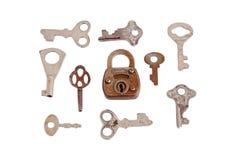 Oude hangslot en sleutel Stock Foto's
