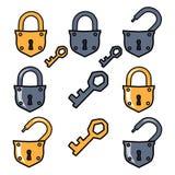 Oude hangslot en sleutels E stock illustratie