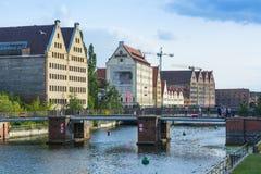 Oude Hanseatic haven bij Motlawa-Rivier Gdansk Royalty-vrije Stock Afbeelding