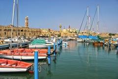 Oude haven in Acre, Israël. stock afbeeldingen