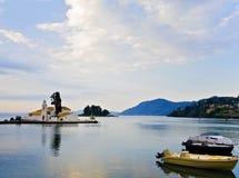 Oude haven bij het eiland van Korfu in Griekenland Royalty-vrije Stock Afbeelding