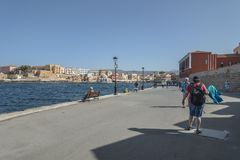 Oude haven in Chania Stock Foto