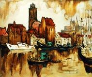 Oude haven in de Duitse wismar stad, het schilderen Stock Afbeelding