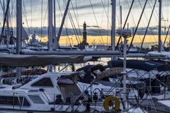 Oude Haven Genoa Night Stock Afbeeldingen