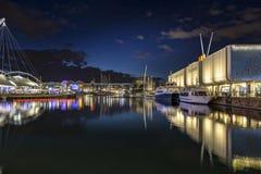 Oude Haven Genoa Night Royalty-vrije Stock Afbeeldingen