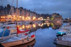 Oude haven in Honfleur, Frankrijk Stock Afbeeldingen