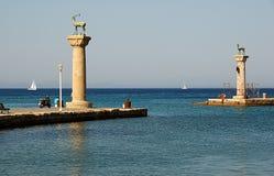 Oude haven op Rodos Stock Afbeeldingen