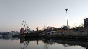 Oude haven op Vltava in Praag stock afbeeldingen