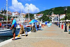 Oude Haven, Skiathos stock foto's