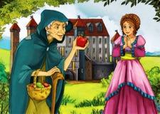 Oude heks en jonge vrouw stock illustratie