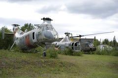 Oude helikopters stock foto's