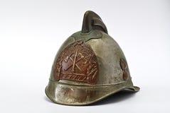 Oude helm voor brandweerman Stock Afbeelding
