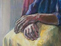 Oude het bidden handen stock illustratie