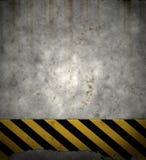 Oude het tekenmuur van gevaarstrepen stock illustratie