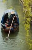 Oude het waterstad van Suzhou in regen Stock Afbeelding