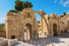 Oude het zuidenpoort van Jerash Jordanië Royalty-vrije Stock Foto's