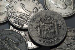Oude historisch zilveren Muntstukken uit de hele wereld in het Detail Royalty-vrije Stock Foto's