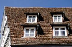 Oude historische dak en vensters Stock Foto's