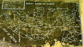 Oude historische kaart van Rann van de preverdeling van Kutch Stock Foto