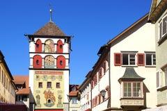 Oude historische middeleeuwse oude stad Wangen im Stock Foto's