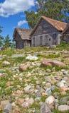 Oude historische netto-loodsen in Altja, Estland Stock Foto's