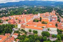 Oude hogere stad in Zagreb stock afbeeldingen