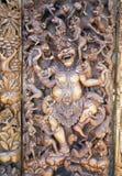 Oude houtdruk van de mythologie van Bali stock afbeeldingen