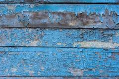 Oude houten achtergrond met beschadigde blauwe verf Royalty-vrije Stock Afbeelding
