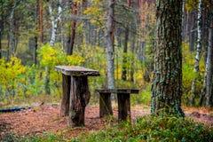 Oude houten banken Stock Foto