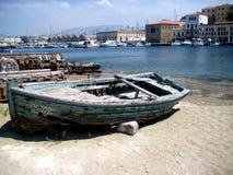 Oude Houten Boot bij Haven royalty-vrije stock afbeelding
