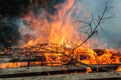 Oude houten brand Stock Afbeelding
