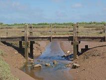 Oude houten brug. royalty-vrije stock foto
