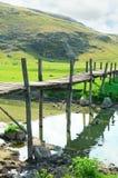 Oude houten brug Stock Afbeelding