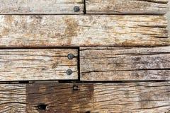 Oude houten brug dichte omhooggaand Stock Afbeelding
