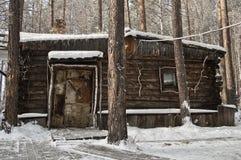 Oude houten cabine Stock Foto's