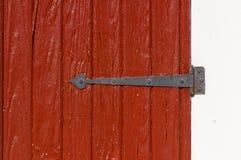 Oude houten deur en scharnier Stock Afbeelding