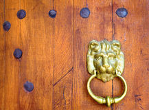 Oude houten deur met een hoofd van de bronsleeuw Stock Fotografie