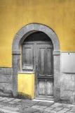 Oude houten deur met selectieve desaturatie Stock Foto