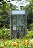 Oude Houten Deur in Tuin Daylily Stock Afbeeldingen