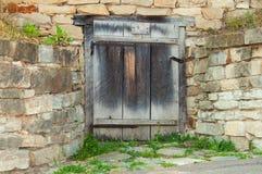 Oude Houten deuren en steenmuur De Oekraïne, Pirogovo-museum Royalty-vrije Stock Fotografie