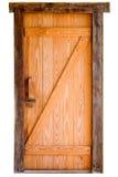 Oude houten die deur op witte achtergrond wordt geïsoleerd Stock Foto