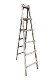 Oude houten die ladder op witte achtergrond wordt geïsoleerd royalty-vrije stock afbeeldingen