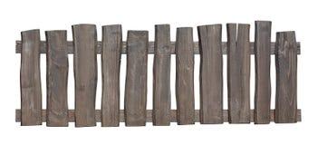 Oude houten die omheining met het knippen van weg wordt geïsoleerd Royalty-vrije Stock Afbeeldingen