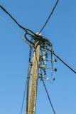 Oude houten die powerline, op blauwe hemel wordt geïsoleerd Stock Afbeelding