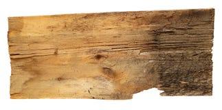 Oude houten die raad op witte achtergrond wordt geïsoleerd Stock Foto