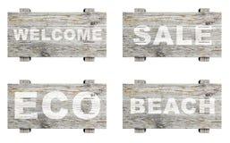Oude houten die tekens met woord worden geplaatst Stock Foto's