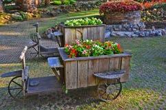 Oude houten driewielers met bloemen in het park stock foto