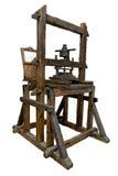 Oude houten drukpers stock afbeelding
