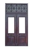 Oude houten dubbele deur met rooster royalty-vrije stock afbeelding