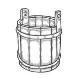 Oude houten emmer vector illustratie
